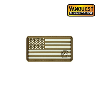 벤퀘스트(Vanquest) [Vanquest] Glow In The Dark Left US Flag Patch (Coyote) - 벤퀘스트 야광 왼팔용 성조기 패치 (Coyote)