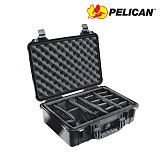 펠리칸(PELICAN) [Pelican] 1500 Medium hard Case (Black) - 펠리칸 1500 미듐 하드케이스 블랙 (Padded Dividers)